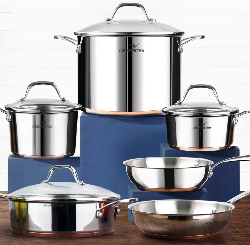 HOMI CHEF 10-Piece Nickel Free Stainless Steel Cookware Set Copper Band