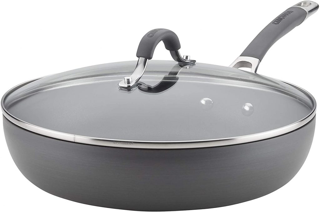Circulon Radiance Deep Hard Anodized Nonstick Frying Pan / Fry Pan / Hard Anodized Skillet with Lid - 12 Inch, Gray