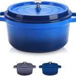 SULIVES Non-Stick Enamel Cast Iron Dutch Oven Pot with Lid Suitable for bread baking use on gas electric oven 1.5 Quart for 1-2 people(Dark Blue)