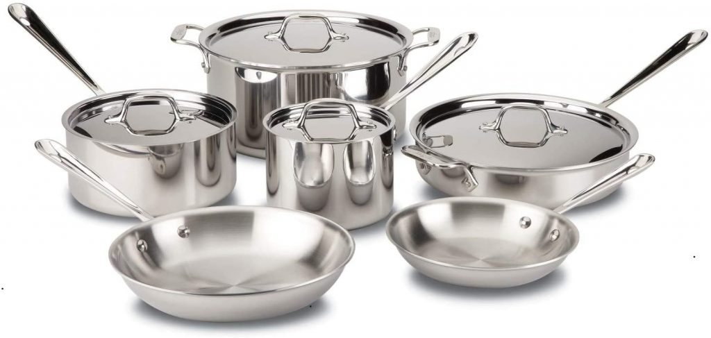 All-Clad D3 Stainless Cookware Set, Pots and Pans, Tri-Ply Stainless Steel, Professional Grade, 10-Piece