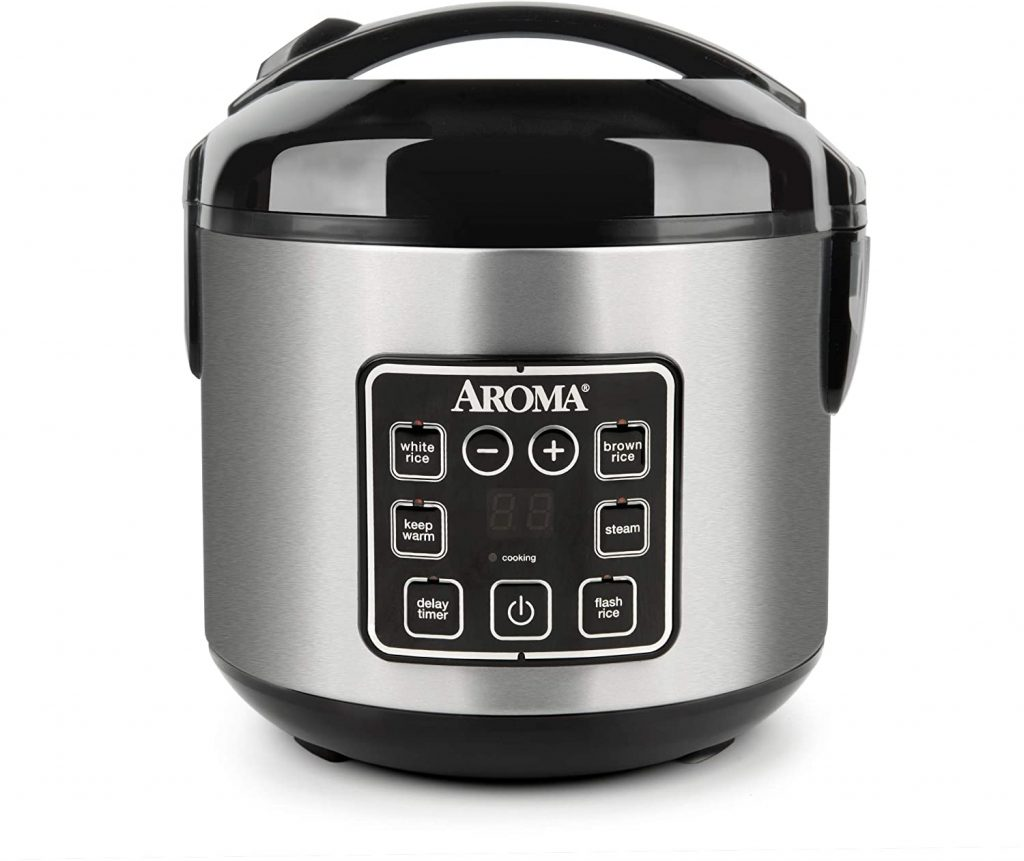 Aroma Housewares 2-8-Cups (Cooked) Digital Cool-Touch Rice Grain Cooker and Food Steamer