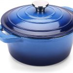 Puricon 5.5 Quart Enameled Cast Iron Dutch Oven, Round Ceramic Enamel Dutch Ovens Pot -Navy