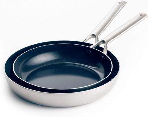 "Blue Diamond Cookware Triple Steel Ceramic Nonstick Frying Pan Set, 9.5"" and 11"""