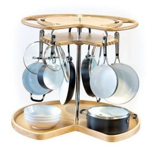 how to organize pots and pans in a lazy susan