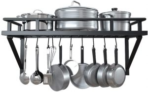 KES 24 Inch Kitchen Pot Pan Rack Wall Mounted Hanging Storage Organizer Wall Shelf With 10 Hooks Matte Black