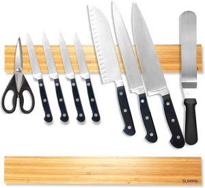 Sumpri Magnetic Knife Holder (16 Inch - Set Of 2) Bamboo Magnetic Knife Strip