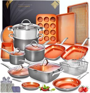 Home Hero Copper Pots and Pans Set -23pc Copper Cookware Set